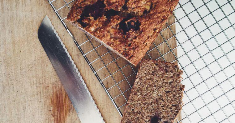 Glutenvrij Vegan Bananenbrood met Bosbessen